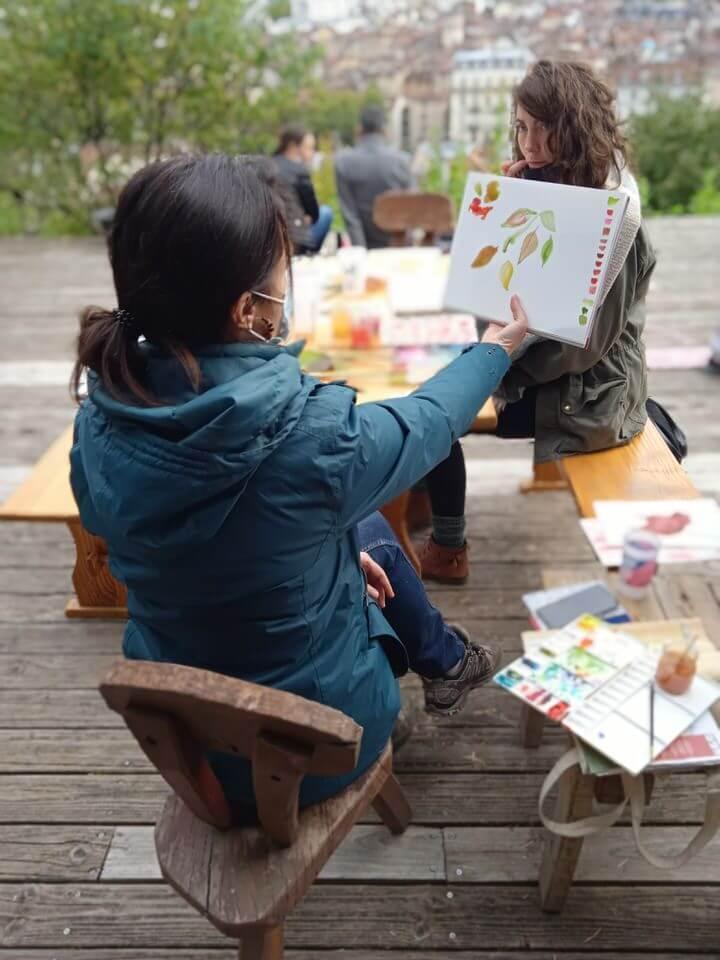 cours d'aquarelle au jardin